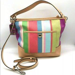 NWT Coach Hamptons Stripe Shoulder Bag Crossbody